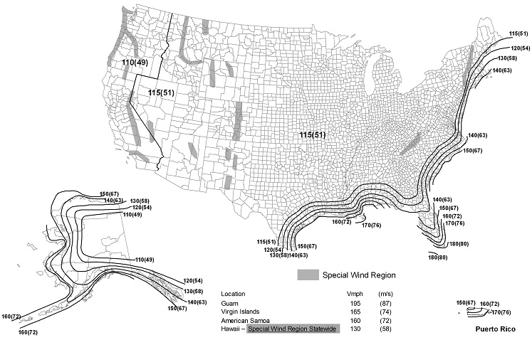 FIGURE 1609.3(1) ULTIMATE DESIGN WIND SPEEDS, vult, FOR RISK CATEGORY II BUILDINGS AND OTHER STRUCTURES