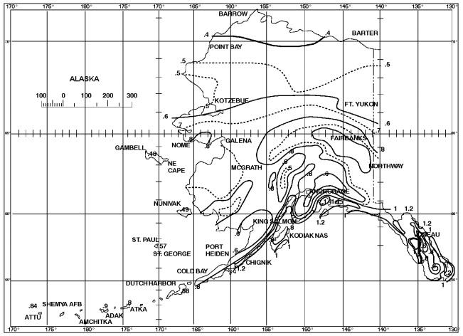 [P] FIGURE 1611.1 100-YEAR, 1-HOUR RAINFALL (INCHES) ALASKA