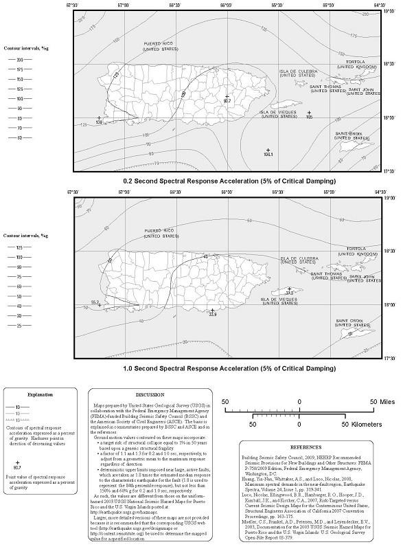 FIGURE 1613.3.1(6) RISK-TARGETED MAXIMUM CONSIDERED EARTHQUAKE (MCER) GROUND MOTION RESPONSE ACCELERATIONS FOR PUERTO RICO AND THE UNITED STATES VIRGIN ISLANDS OF 0.2- AND 1-SECOND SPECTRAL RESPONSE ACCELERATION (5% OF CRITICAL DAMPING), SITE CLASS B